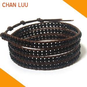 チャンルー CHAN LUU ブレスレット ブレス ラップブレスレット BS1289 オニキス×ブラウンレザー レザーブレスレット|ebsya