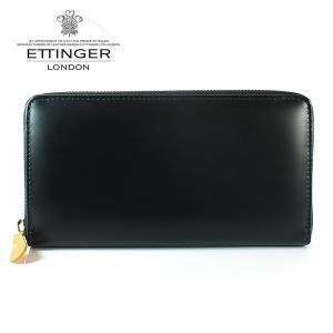 エッティンガー ETTINGER 長財布 メンズ ラウンドファスナー BH 2051EJR BLACK ブラック ブライドルレザー|ebsya