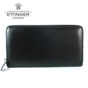 エッティンガー ETTINGER 長財布 メンズ ラウンドファスナー PP 2051EJR PURPLE ロイヤルコレクション ブラック×パープル|ebsya