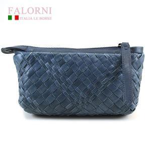 ファロルニ Falorni ポーチ バッグ ラムスキン AC104 LEATHER BAG BLU ブルー|ebsya