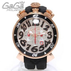 ガガミラノ GaGa Milano Chrono クロノ 腕時計 48MM 18K PVD ピンクゴールド 6056.6 ブラックラバー/ブラック|ebsya