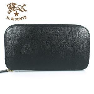 イルビゾンテ IL BISONTE 長財布 ラウンドファスナー レザー メンズ レディース C0442 135 BLACK ブラック|ebsya