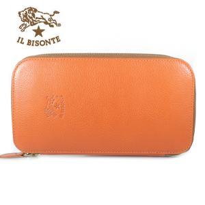 イルビゾンテ IL BISONTE 長財布 ラウンドファスナー レザー メンズ レディース C0442 166 ORANGE オレンジ|ebsya