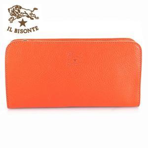 イルビゾンテ IL BISONTE 長財布 L字ファスナー レザー メンズ レディース C0909 166 オレンジ ORANGE|ebsya