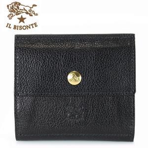 イルビゾンテ IL BISONTE 二つ折り財布 Wホック 財布 レザー メンズ レディース C0910 135 ブラック BLACK|ebsya