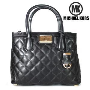 マイケルコース MICHAEL KORS MK  2WAY トートバッグ HANNAH MD SATCHEL LEATHER レザー ブラック 30F5GNNS2L 001|ebsya