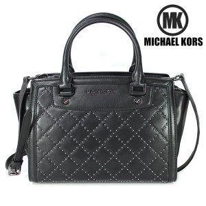 マイケルコース MICHAEL KORS MK 2WAY ハンドバッグ QLTD MD TZ SATCHEL BUTTER CALF GUNMETAL  レザー ブラック 30F5TMUS2L 001|ebsya