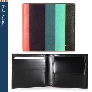 ポールスミス 二つ折り財布 財布 メンズ マルチカラーストライプ Paul Smith  ARXC 4833 W785 1|ebsya