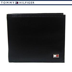 トミーヒルフィガー 財布 二つ折り財布 メンズ レザー ブラック TOMMY HILFIGER 31TL25X003-001|ebsya