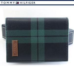 トミーヒルフィガー カードケース 名刺入れ グリーン チェック TOMMY HILFIGER 31TL40X002-067|ebsya