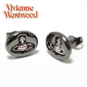 ヴィヴィアンウエストウッド Vivienne Westwood ピアス ヴィヴィアン エンボスドロゴスタッズ イヤリング ガンメタル×シルバー 1204|ebsya