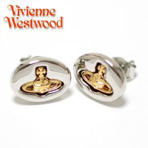 ヴィヴィアンウエストウッド Vivienne Westwood ピアス ヴィヴィアン エンボスドロゴスタッズ イヤリング シルバー×ゴールド 1205|ebsya