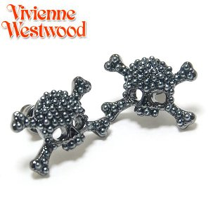 ヴィヴィアンウエストウッド Vivienne Westwood パールスカル&クロスボーンスタッド ガンメタル 1354 ebsya