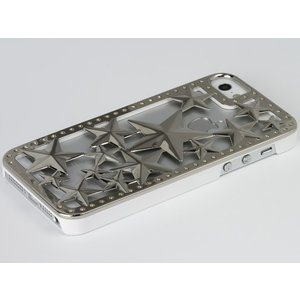 iPhoneSE / iPhone5s ケース Deff ディーフ iPhone SE / 5s / 5 Metal case Glitter Star Silver / White DCS-IP50MGS-SW ネコポス不可|ec-kitcut