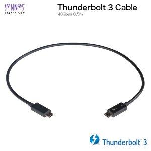 Thunderbolt3 USB-C ケーブル SONNET ソネット テクノロジー Thunderbolt 3 40Gbps ケーブル 0.5m ブラック TCB-TB3-05M ネコポス不可|ec-kitcut