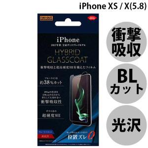 iPhoneX ガラスフィルム Ray Out レイアウト iPhone X 液晶保護フィルム 9H 衝撃吸収 ハイブリッドガラスコートフィルム ブルーライト 光沢 防指紋 ネコポス可|ec-kitcut