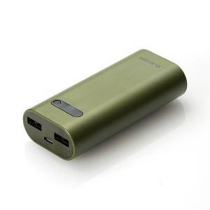 モバイルバッテリー エレコム ELECOM Niibu Plus おまかせ充電対応 モバイルバッテリー 6400mAh カーキ DE-M01L-6400GN ネコポス不可|ec-kitcut