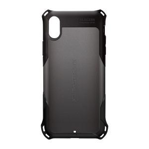 iPhoneXR ケース エレコム ELECOM iPhone XR ZEROSHOCK スタンダード ガンメタリック PM-A18CZEROGM ネコポス可|ec-kitcut