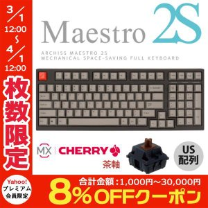 ARCHISS アーキス Maestro 2S メカニカル 省スペース キーボード 英語配列 98キー CHERRY MX スイッチ 茶軸 昇華印字 黒/グレイ AS-KBM98/TGB ネコポス不可|ec-kitcut