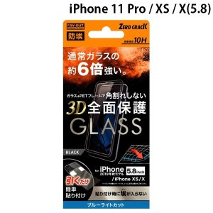 Ray Out  iPhone 11 Pro / XS / X ガラスフィルム 防埃 3D 10H アルミノシリケート 全面 ブルーライトカット ソフトフレーム ブラック 0.25mm ネコポス送料無料|ec-kitcut