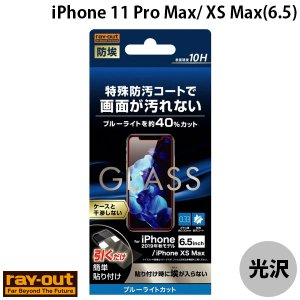 Ray Out レイアウト iPhone 11 Pro Max / XS Max ガラスフィルム 防埃 10H ブルーライトカット ソーダガラス 0.33mm RT-P22F/BSMG ネコポス可|ec-kitcut