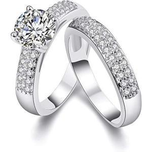 Rockyu ジュエリー ペアリング 2個セット レディース 指輪 プラチナ ジルコニア ダイヤモンド 一粒 キラキラ 結婚指輪 婚約指輪 17号 上 ec-malls