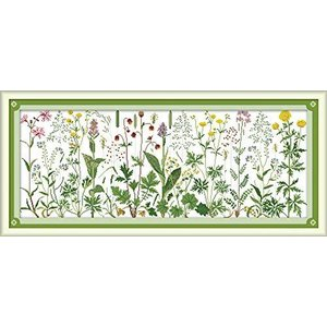 Joy Sunday クロスステッチキット 14CT スタンプ刺繍キット 正確なプリント刺繍 - 草原の上の花 85×36cm|ec-malls