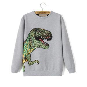 Dinosaur Patterned Print Loose Sweatshirt / 恐竜柄の印刷...