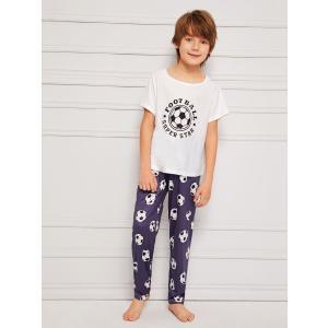 Boys Soccer & Letter Print Pajama Set / 少年サッカー&レター...