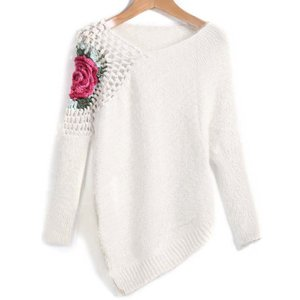 Apricot Round Neck Floral Crochet Loose Sweater / ...