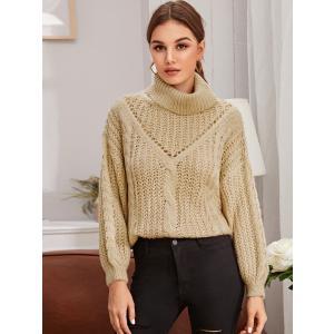 Drop Shoulder Turtleneck Loose Knit Sweater / ドロップ...