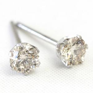 ダイヤ ピアス プラチナ ダイヤモンド ピアス シャンパンブラウンダイヤ 0.3カラット