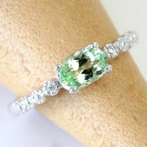 リング レディース 指輪 ダイヤモンド × UVガーネット K18 4.0mm×6.0mm ホワイト...