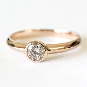 ダイヤモンド リング シャンパンブラウンダイヤ 一粒 指輪 0.3カラット K18