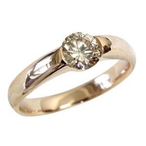 一粒 ダイヤモンド リング シャンパンブラウンダイヤ 0.5ct K18