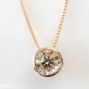 ダイヤモンド ネックレス 一粒 シャンパンブラウンダイヤ ハート K18 0.3カラット