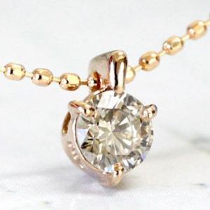 ダイヤモンド ネックレス 一粒 シャンパンブラウンダイヤ 0.20ctアップ K18