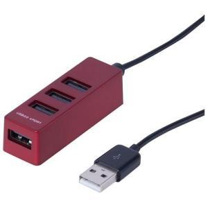 ナカバヤシ UH-2404R(レッド) USB2.0 4ポートハブ 30cm|eccurrent