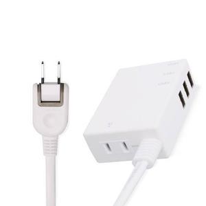 エレコム MOT-U06-2134WH(ホワイト) モバイルUSBタップ 1個口(横挿し) 0.6m|eccurrent