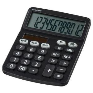 オーム電機 KCL-220-K(ブラック) 電卓 ソーラー 手帳サイズ 12桁|eccurrent