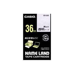 CASIO XR-36X ネームランド 透明テープ 黒文字 36mm