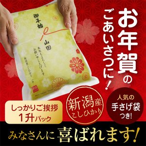 御年賀 米 新潟産コシヒカリ 一升(1.5kg)真空 パック 新年 粗品 こしひかり 米 正月 挨拶 品 年末 ギフト|echigo-komesho