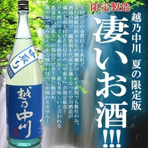 日本酒 越乃中川 中取り生貯蔵酒1.8L  中川酒造...