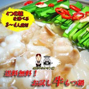 スープが選べる 送料無料 秘伝の味 お試し用牛もつ鍋 3〜4...