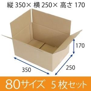 梱包用段ボール 80サイズ (350×250×170)  厚さ3mm【5枚セット】 無地 引越用ダンボール 収納 激安【入数:5】|ecj
