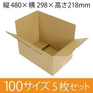梱包用段ボール 100サイズ (480×298×218mm)  厚さ4mm 【5枚セット】  引越用ダンボール 無地 収納 激安【入数:5】|ecj