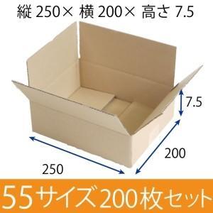 梱包用段ボール 55サイズ (253×194×76mm)   厚さ3mm【200枚セット】 引越用ダンボール 無地 収納 激安【入数:200】|ecj