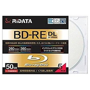 RiDATA くり返し録画用BD-RE 5枚パック スリムケース BD-RE260PW 2X.5P SC A