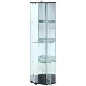 不二貿易 ガラスコレクションケース コーナー4段(スリム) ライト付 型番:TMG-G169-1 BK 色:BLACK|ecjoyecj24