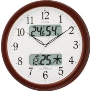 リズム時計 CITIZEN (シチズン) 電波 掛け時計 ネムリーナ カレンダー M01 ブラウン 茶 メタリック色 4FYA01-006|ecjoyecj25